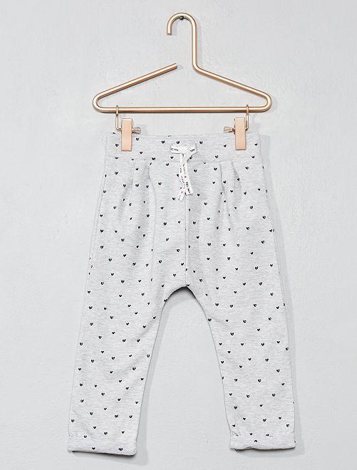 Pantaloni tessuto felpato stampato                                         GRIGIO Neonata