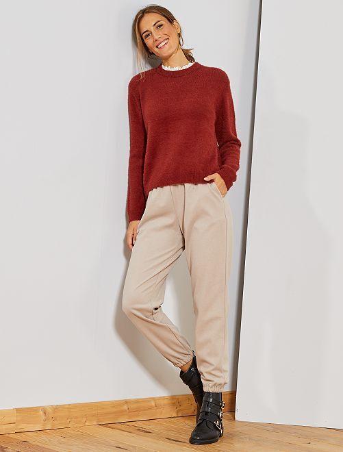 Pantaloni tessuto tweed                                         BEIGE