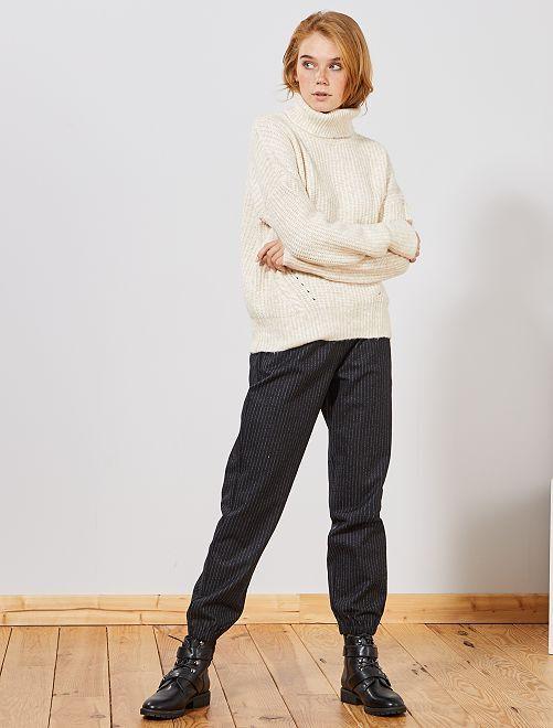 Pantaloni tessuto tweed                     BLU