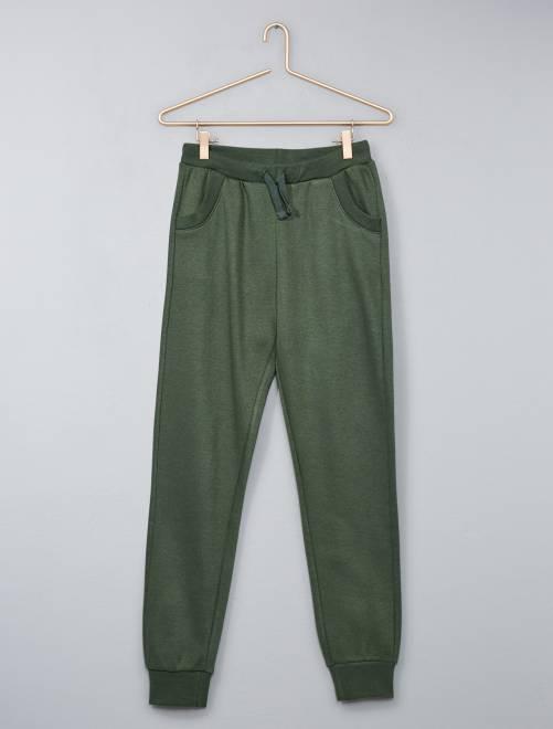 Pantaloni tuta tessuto felpato                             verde Ragazzo