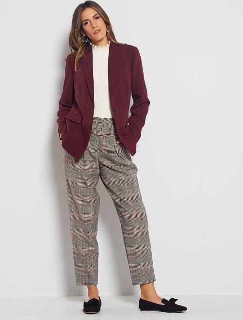 Pantaloni vita alta con cintura                                         GRIGIO