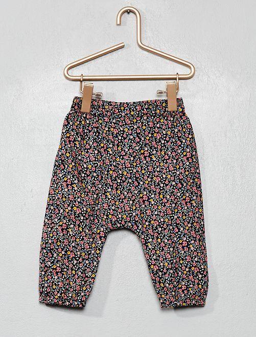 Pantaloni voile di cotone stampa 'fiori'                                                     BLU