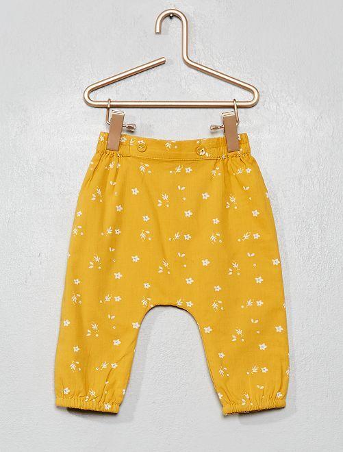 Pantaloni voile di cotone stampa 'fiori'                                                     GIALLO