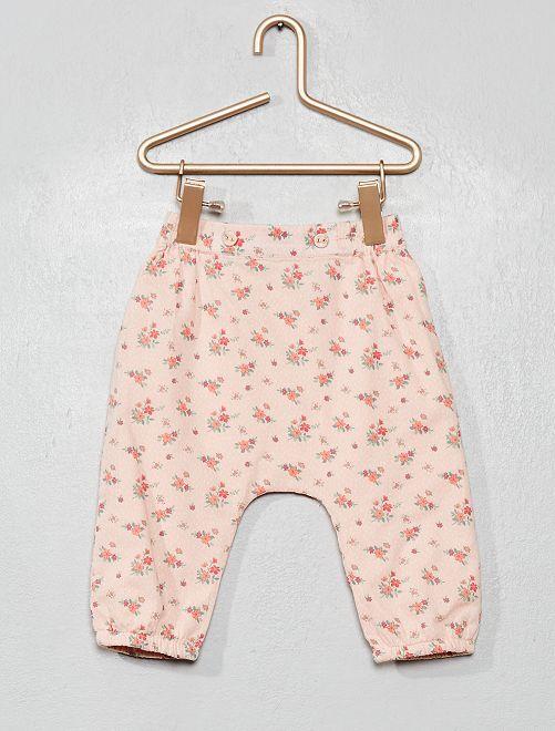 Pantaloni voile di cotone stampa 'fiori'                                                     ROSA