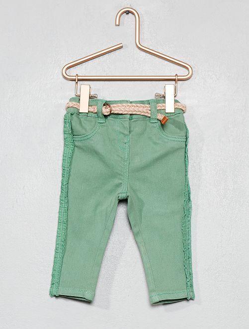 Pantaloni volant + cintura                             verde Neonata