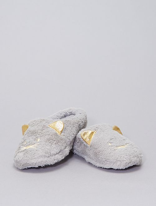 Pantofole a mules in maglia peluche                                         grigio