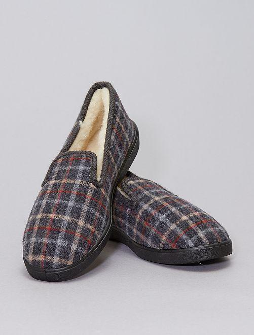 Pantofole a quadri                             GRIGIO