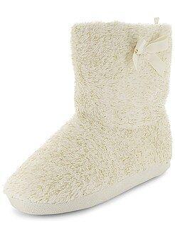 Pantofole - Pantofole a stivaletto effetto sherpa fili brillanti