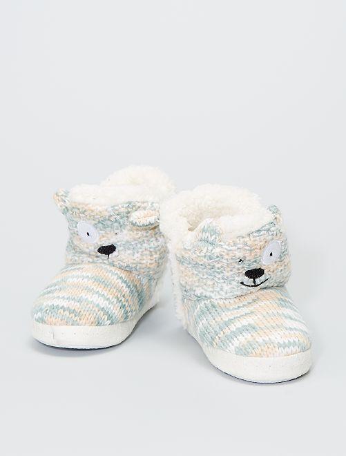 Pantofole a stivaletto in maglia                                                     ecru