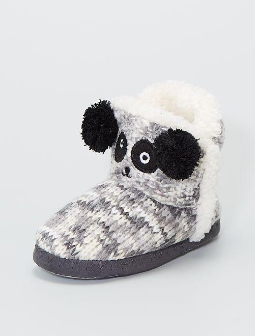 Pantofole a stivaletto in maglia                     nero