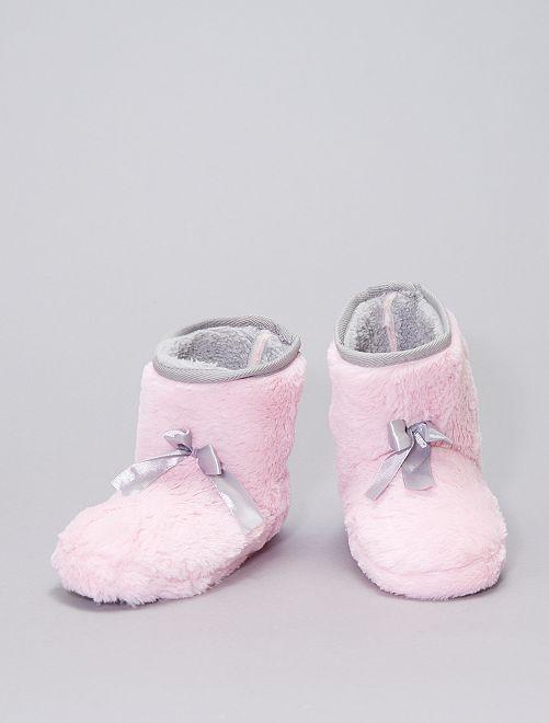 Pantofole a stivaletto in maglia peluche                                         ROSA