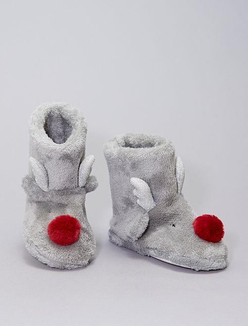 Pantofole a stivaletto in pile                                         grigio