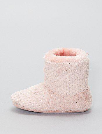 7b7e582d2224 Pantofole alte maglia peluche - Kiabi
