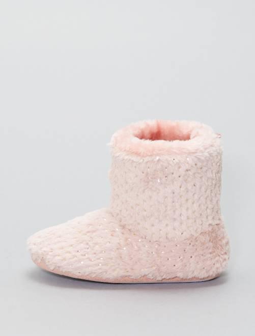 Pantofole alte maglia peluche                             rosa