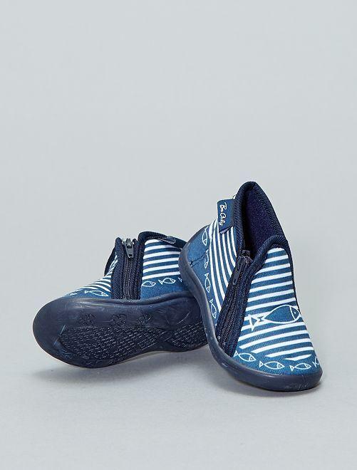 Pantofole alte soletta in pelle                             BLU Scarpe
