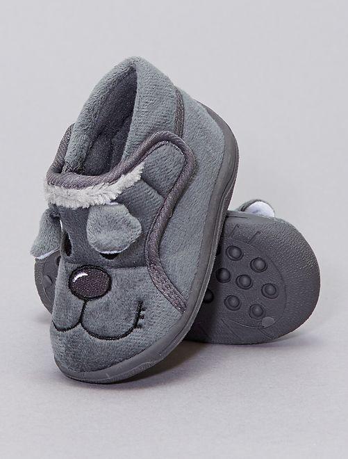 Pantofole alte 'testa di animali'                                         NERO