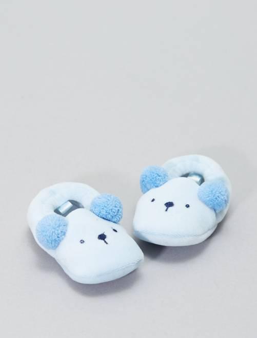 Pantofole applicazione testa di animali                                 blu Neonato