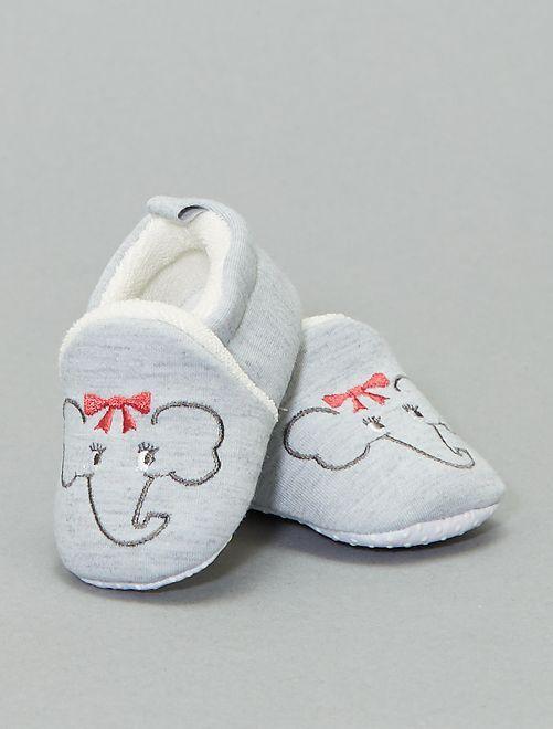 Pantofole con ricami 'elefante'                                                                 grigio chiaro