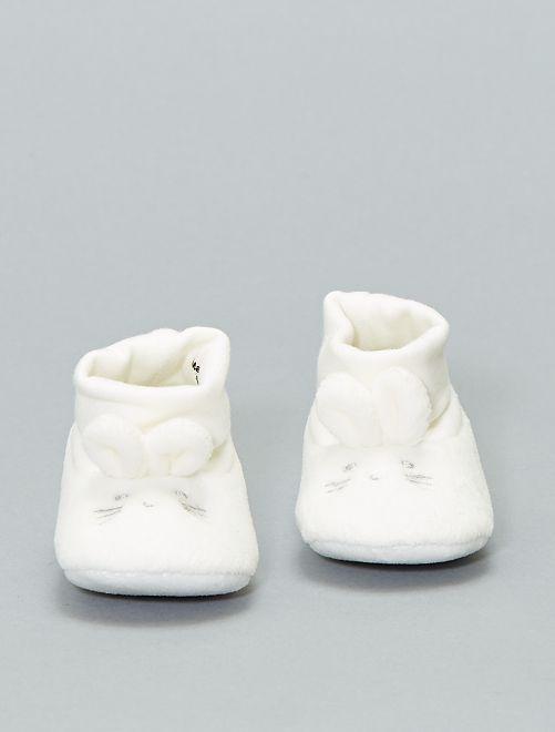 Pantofole 'coniglio' cotone bio                                                     bianco Neonato
