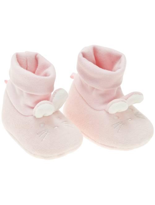 Pantofole 'coniglio' cotone bio                                                     rosa Neonata