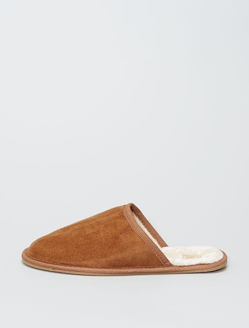 Pantofole mules effetto finto camoscio                             cammello