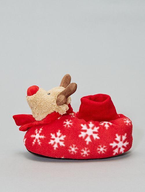Pantofole 'Renne di Natale'                             rosso