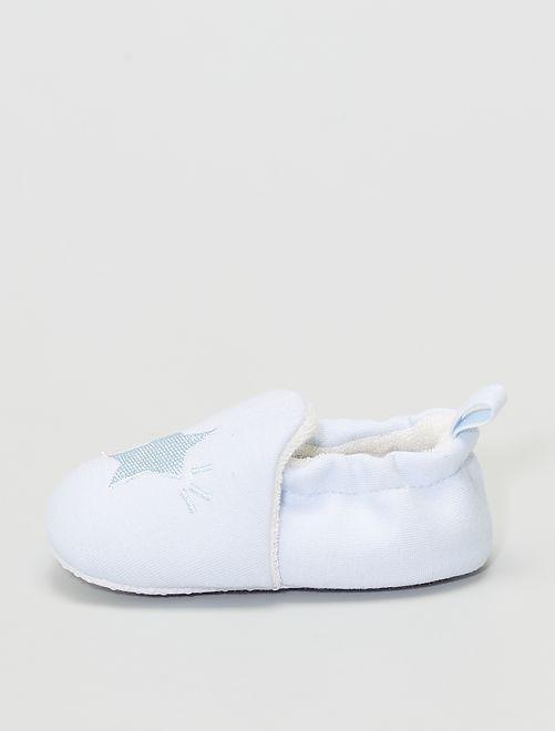Pantofole ricamate                                                     azzurro cielo