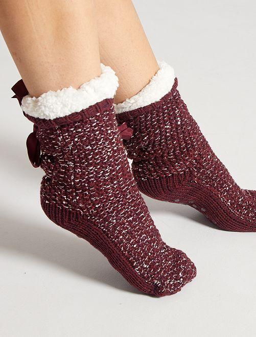 Pantofole spesse in maglia grossa                                                     bordeaux