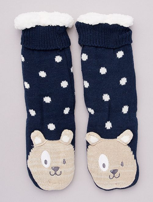 Pantofole spesse in maglia peluche animali                                                     BEIGE