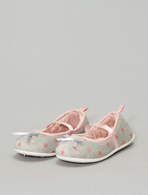 Pantofole stile ballerine luccicanti                             grigio