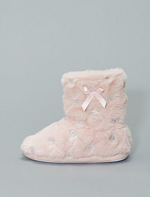Pantofole stivaletto con paillette                             rosa