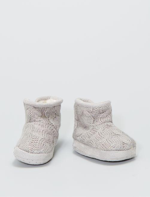 Pantofole stivaletto in maglia imbottite                                 talpa