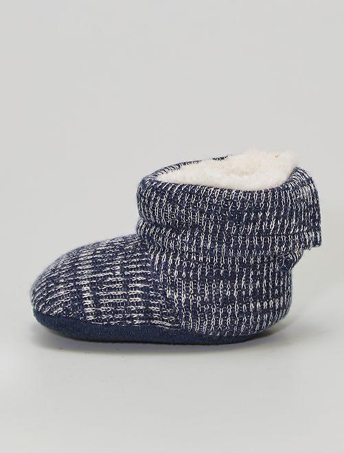 Pantofole stivaletto lavorate a maglia                                         blu