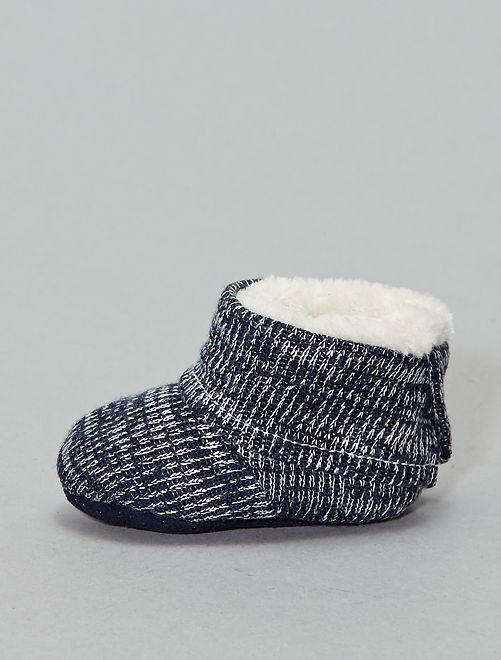 Pantofole stivaletto lavorate a maglia                                         nero