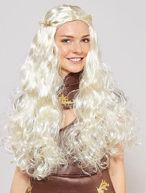 Parrucca lunga medievale                             bianco