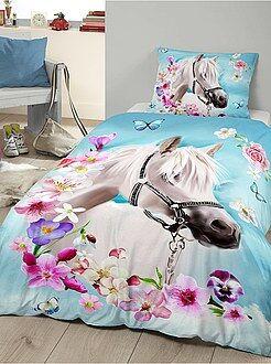 Biancheria letto per bambini - Parure da letto singolo stampa 'cavallo' - Kiabi