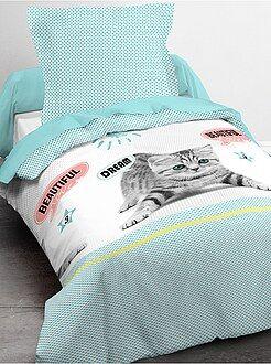 Biancheria letto per bambini - Parure da letto singolo stampa gatto