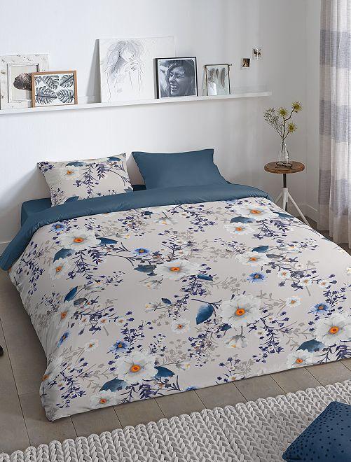 Parure letto a fiori matrimoniale                             grigio blu marine