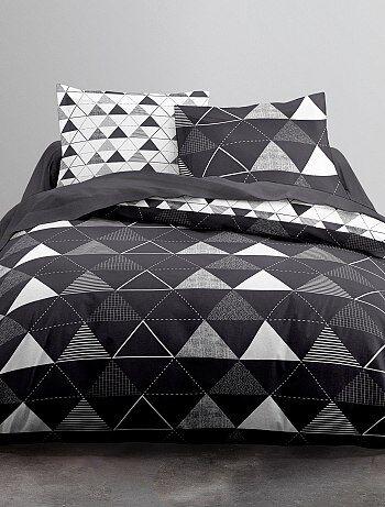 Parure letto bianco e nero stampa 'triangoli' - Kiabi