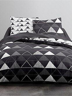 Biancheria letto per adulti - Parure letto bianco e nero stampa 'triangoli' - Kiabi