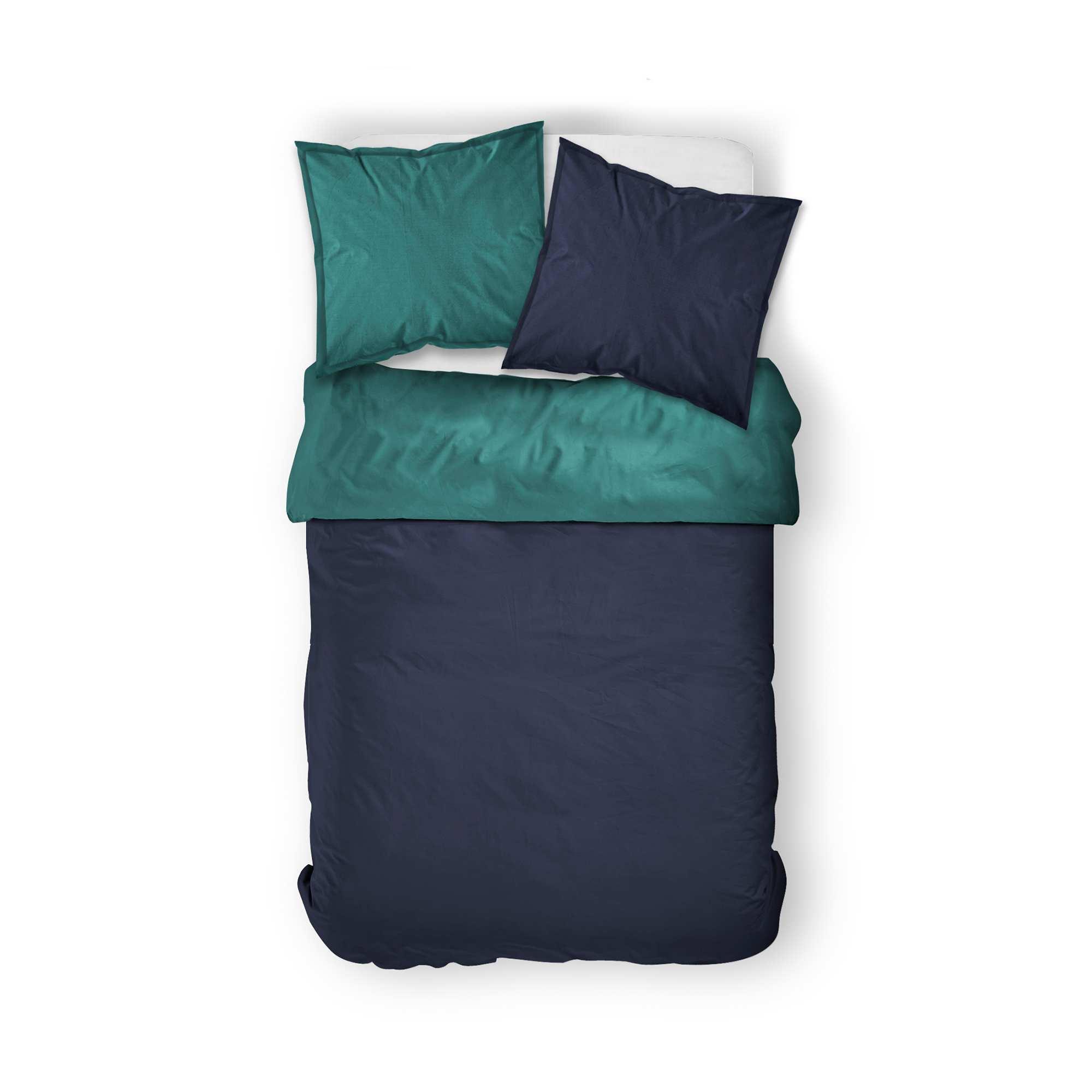 7c1d91a77b Parure letto matrimoniale bicolore blu marino/blu anatra Casa. Loading zoom