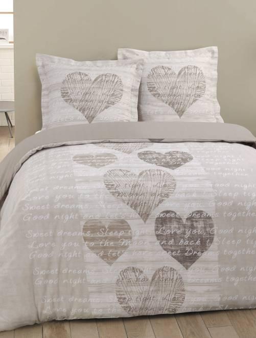 parure letto matrimoniale stampa 39 cuori 39 casa beige kiabi 32 00. Black Bedroom Furniture Sets. Home Design Ideas