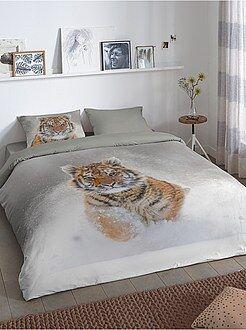 Biancheria letto per adulti - Parure letto matrimoniale stampa 'tigre' - Kiabi