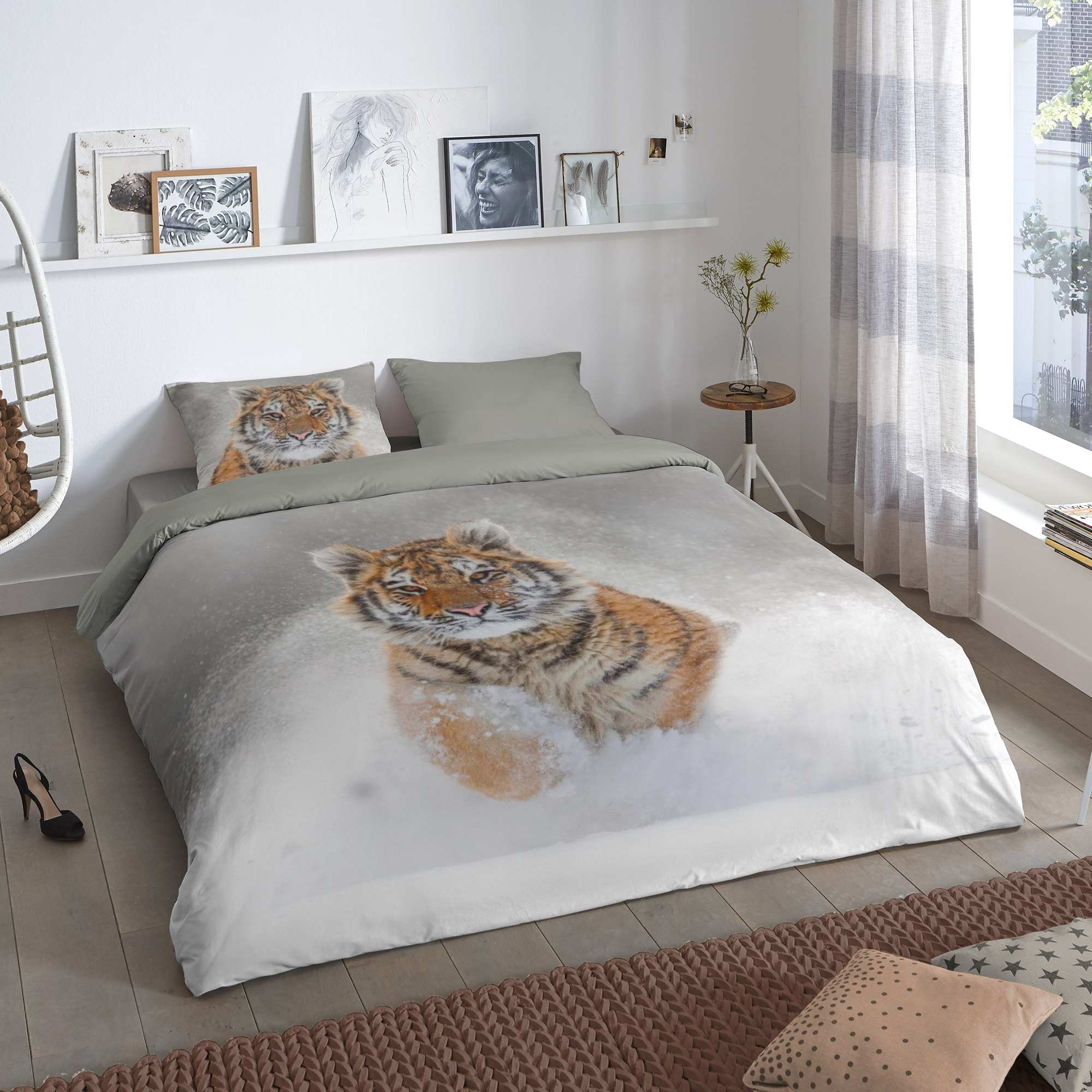Parure letto matrimoniale stampa 39 tigre 39 casa grigio - Letto matrimoniale grigio ...