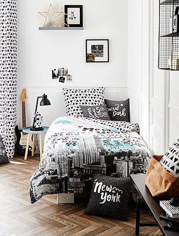 parure letto 39 new york 39 casa bianco kiabi 20 00. Black Bedroom Furniture Sets. Home Design Ideas