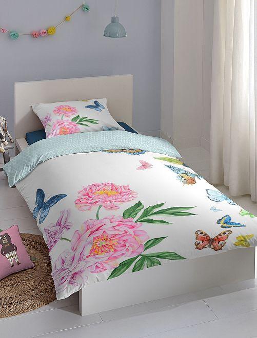 Parure letto singolo a fiori                             bianco