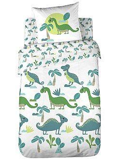 Biancheria letto per bambini - Parure letto singolo double face 'Dinosauri'