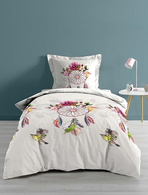 Parure letto singolo o matrimoniale 'acchiappasogni'                             bianco/rosa Casa