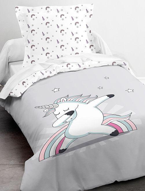 Parure letto singolo 'Unicorno'                             grigio bianco Casa