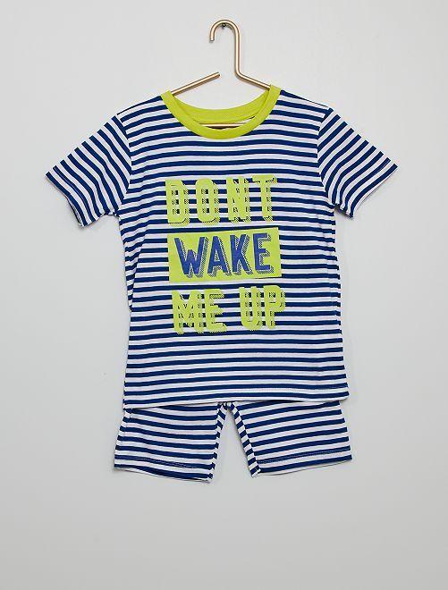Pigiama corto a righe 'Don't wake me up'                             blu/bianco
